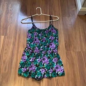 Purple and green floral romper